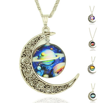 x405  Moon Statement Necklace Glass Galaxy Lovely Collares Necklace&Pendants Fine Jewerly  silver color Jewelry