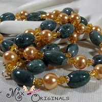 Green Marble and Golden Swarovski Crystals and Pearls 3 Piece Set
