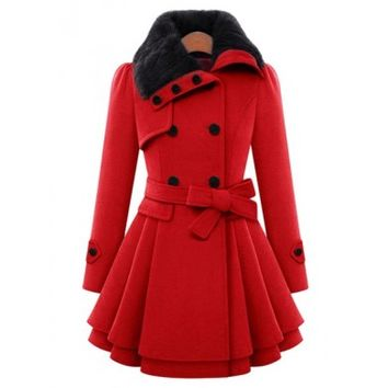 Red Peplum Pea Coat