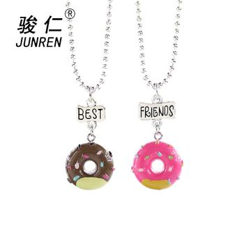 2 pcs/set New Arrive children Best Friends Forever Colorful Doughnut Friendship Necklaces kids Jewelry gifts