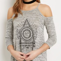Live By the Sun Marled Knit Cold Shoulder Top | Long Sleeve Graphic Tees | rue21