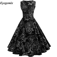 Newest Vintage Retro 50S 60S Rockabilly Dresses Women Pinup Casual Summer Floral Print Dress Audrey Hepburn Vestidos Party Dress