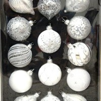 Hand Decorated Glass Christmas Ornaments - 14 Piece Set Silver Shades