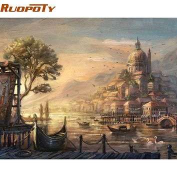 RUOPOTY Urban City DIY Painting By Numebrs Landscape Abstract Hand Painted Oil Painting On Canvas Wall Art Picture 40x50cm