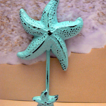 Starfish Cast Iron Cottage Chic Distressed Beach Blue Nautical Decor Bathroom Lake House Towel Leash Hat Coat Key Jewelry Star Fish Hook