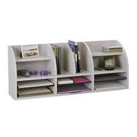 Safco 38-in. Wide Radius Front 11-Compartment Desktop Organizer - Gray | www.hayneedle.com