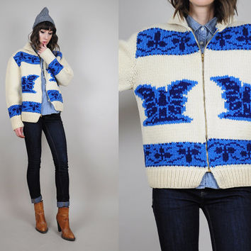 COWICHAN vtg 70's hand knit WOOL sweater cardigan Eagle Native knit  jumper 60's Novelty • Medium