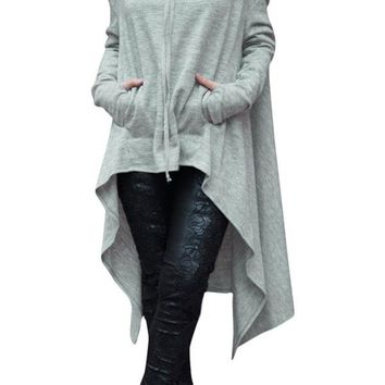 2017 New Autumn Women's Fashion Grey Green Burgundy Plain Drawstring Irregular Oversize Hoodie LGY25933