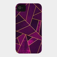 Purple Stone / Gold Lines Phone Case By Elisabethfredriksson Design By Humans