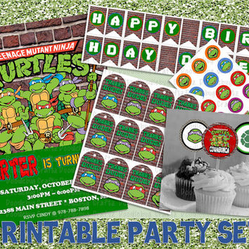 SAVE 20% TMNT Teenage Mutant Ninja Turtles Printable Birthday Party Set - Invitation, Cupcake Toppers, Favor Tags, Banner, Bottlecap Images