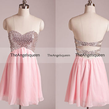 Sweetheart Pink Strapless Criss Cross All Beads Sequins Sparkling Short Evening dress,Bridesmaid dresses,Cocktail dresses,Senior prom dress