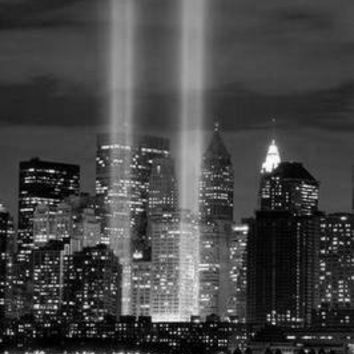 "Twin Towers Tribute Lights WTC Poster Black and White Poster 16""x24"""