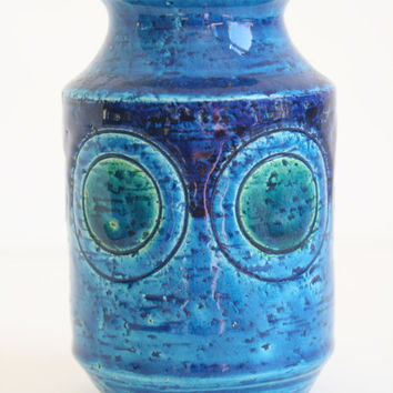 Bitossi Vase with Blue Glaze Collectible Italian Pottery Aldo Londi circles