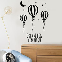 Vinyl Wall Decal Motivational Words Air Balloon Moon Stars Room Design Stickers Unique Gift (1034ig)