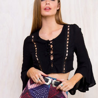 Scoop Flare Long Sleeves Frenulum Hollow Out Short Blouse