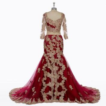 India Saree Red Lace Mermaid Evening Dresses Nigeria Sexy Gorgeous Mermaid Evening Gowns Long Sheer Sleeves Party Dress A003