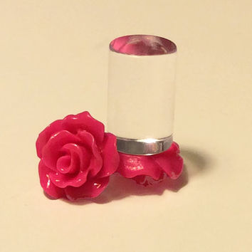 00g, 0g, 2g, 4g, 6g, 8g Hot Pink Rose Plugs, Wedding Plugs, Bridal Jewelry, Bridesmaids, Formal Wear, Special Occasion