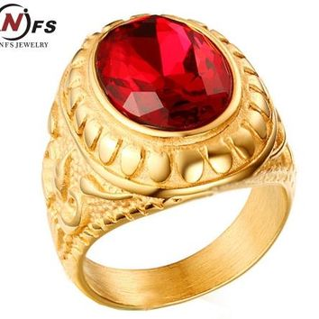 NFS Couple Signet Rings Gold-color Red Stone Ring Stainless Steel Engraved Anchor Vintage Wedding Band Lovers Jewerly Anel