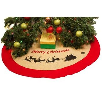 "Burlap 36"" Greeting Sleigh Christmas Tree Skirt - 48 Units"