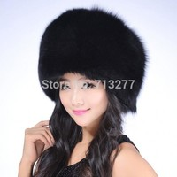 Faux Fox Fur Hat RACCOON Winter Warm Round Top Cap Women Russian Ushanka Hat Cossack Cap Casual Beanies Women Winter Hat
