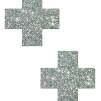 PLUS X: GLITTER CRUSHED SILVER CROSS NIPPLE PASTIES