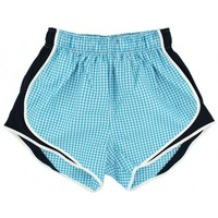 Shorties Shorts in Turquoise Gingham with Navy Panel by Lauren James