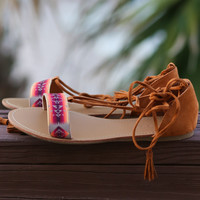 Whiskey Summer Lace Up Wrap Sandals