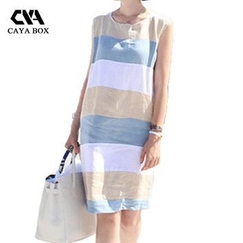 summer Linen dress Women loose cotton basic Sleeveless dresses striped beach Sundress Casual vestidos women's clothing