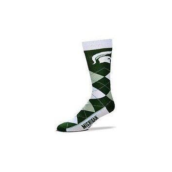 NCAA Michigan State Spartans Argyle Unisex Crew Cut Socks - One Size Fits Most
