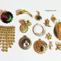 Vintage Gold Charm Lot, Destash Findings / Pendants, Jewelry Making Supplies