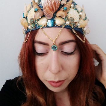 Mermaid Crown, Tourqouis Mermaid Crown, Blue Shell Crown, Gypsy Crown