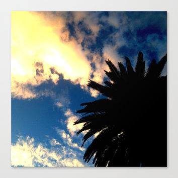Palm Trees Silhouette - The Sun Behind The Clouds Canvas Print by Moonshine Paradise