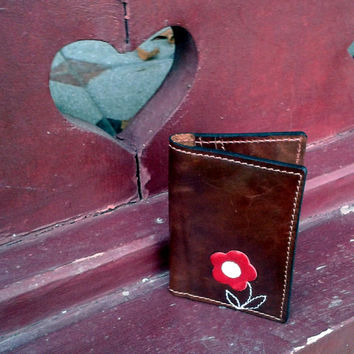 Credit Card Wallet For 4 Credit Cards With Cute Red Flower  - Credit Card Holder - Women Wallet - Credit Card Case - Slim Wallet
