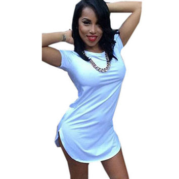 women white black tshirt dress summer style 2016 sexy bandage short beach dress cotton long tops tee t shirt dresses