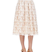 Floral Lace Mid-Calf Skirt, Muslin, Size: