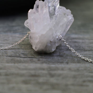 Raw Crystal Pendant, Quartz Necklace, Tiny Icicles, Winter Mountain, Rainbow Moonstone, Chakra Jewelry, Natural Design, Sterling Silver