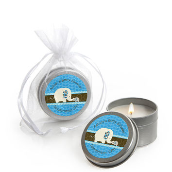 Blue Baby Elephant - Personalized Baby Shower Candle Tin Favors
