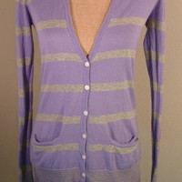Victoria's Secret Pink Sweater purple gray striped boyfriend cardigan sz Medium