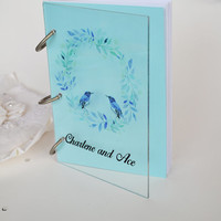 Wedding Guest Book Modern design Transparent organic glass, Personalized with names Blue Birds