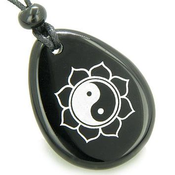 Magic Ying Yang and Lotus Sun Circle Amulet Black Onyx Lucky Wish Stone Necklace