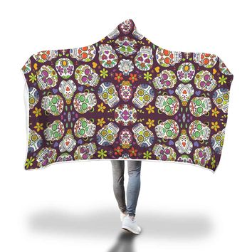 Colorful Skulls Hooded Blanket
