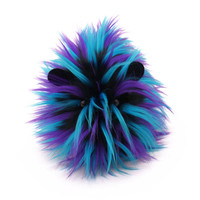 Zoltan the Aqua Purple and Black Spikey Faux Fur Stuffed Guinea Pig Plush Toy - 5x8 Inches Medium Size