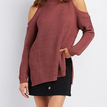 Shaker Stitch Cold Shoulder Sweater