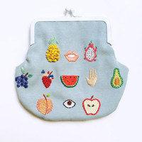 Hand embroidered healthy fruits pale blue purse