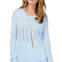 Blue Backless Long Sleeve Sweater