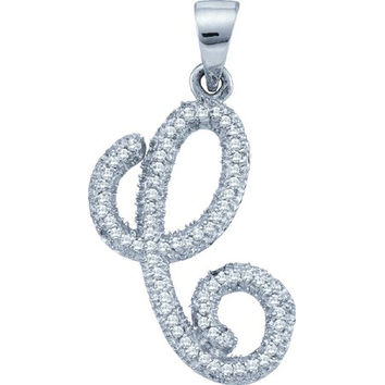 "Diamond Initial-""c"" Pendant in 10k White Gold 0.19 ctw"