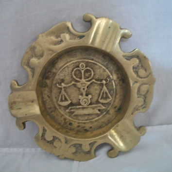 "Vintage ""scales of justice"" brass ashtray great patina"