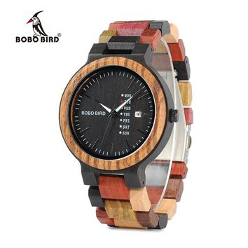 BOBO BIRD Wood Watches Men V-P14-1 Unique Quartz Wristwatch Black Face Date Display with Colorful Wooden Band