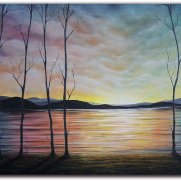 Original Contemporary Landscape Painting, Treescape Oil Painting, Forest Painting with Sunset Sky, Large Wall Art, 36 x 48, FREE SHIPPING