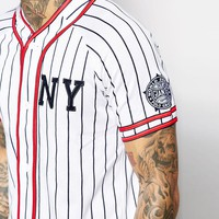 Majestic New York Baseball Top With Stripes